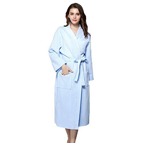Forall-Ms Baumwolle Bademantel für Frauen, Ganzkörperansicht Unisex Langarm Leichte Strick Männer Bademantel mit Taschen Morgenmantel Hausmantel Kimono Persönlichkeit Mädchen Pyjamas,Blue-S