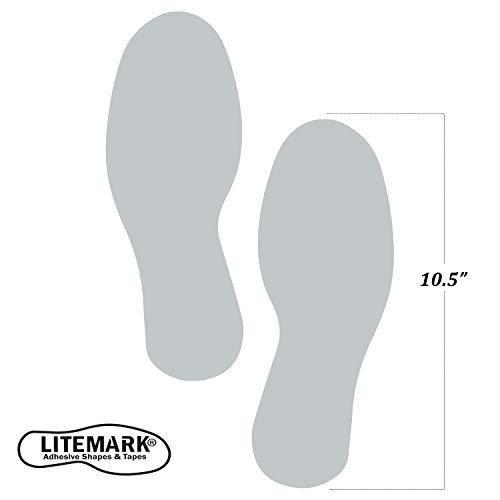 litemark Footprint Aufkleber Aufkleber für Böden und Wände, 12Stück (6Paar) Large grau - Konferenz Linie