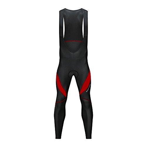 Wosawe salopette per ciclismo da uomo traspirante 4d gel imbottito lunghi pantaloni bicicletta termici bavaglino ansimare per autunno inverno (salopette rosso xxl)