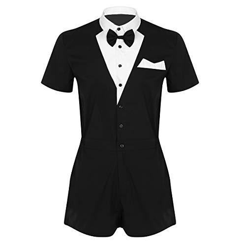 dPois Herren Jumpsuit Barkeeper Kostüm Butler Kostüm Kellner-Outfit Männer Bodysuit Overalls Gentleman Kostüm Unterhemd Kostüm für Party Karneval Reizwäsche Schwarz ()