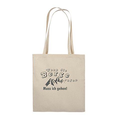 Comedy Bags - Wenn die Berge rufen - BERGE - Jutebeutel - lange Henkel - 38x42cm - Farbe: Schwarz / Pink Natural / Grau
