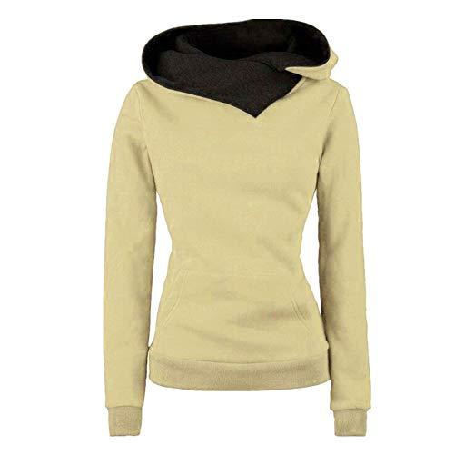 Juxian Revers Kapuze Langarm-Pullover Frauen Vier-Knopf-Mantel Jacke Frauen-Pullover (Gap Baumwoll-boxer)
