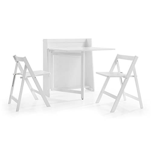 Julian Bowen Helsinki Compact White Dining Set with 2 Folding Chairs, Wood 86 x 80 x 90 cm