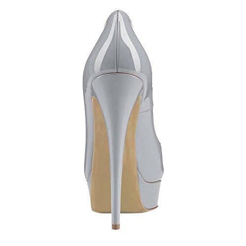 uBeauty - Scarpe da Donna - Scarpe col Tacco - Scarpe con plateau - Scarpe peep toe Grigio