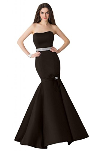 Sunvary Custodia per tromba formale sirena raso per abiti da sera o da cerimonia, con diamanti Cioccolato