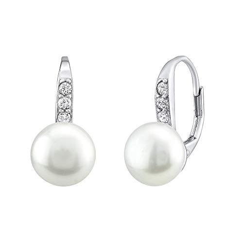Orecchini da donna in argento Sterling 925, con vera perla bianca e zirconi