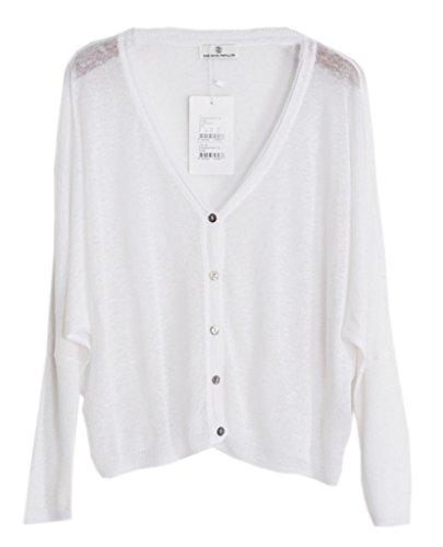 Smile YKK One Size Damen V Ausschnitt Gestrickt Jacken Mantel Outwear  Strickjacke Lange Aermel Weiß