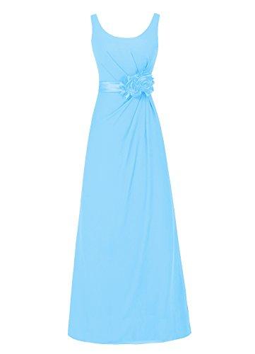 Dresstells Damen Abendkleider Bodenlang Homecoming Kleider Promi-Kleider Blau