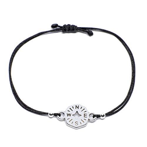 Selfmade Jewelry Armband Kompass Silber auf schwarzem Band größenverstellbares Makramee Armbändchen Handmade