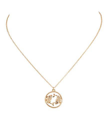 Sternzeichen, Fisch, Statement Kette, Anhänger, Symbol, Gold (758-930) ()