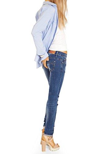 Bestyledberlin Damen Jeans Skinny zerrissene Röhrenjeans Hüftjeans, Stretch Damenjeans Hose j04g Blau