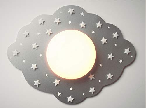 Funnylight LED Kinder Lampe Deckenleuchte Wolke Silber mit glow in the dark Sternen für das Baby und Kinder Schlaffzimmer