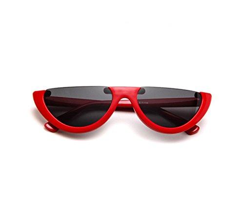 Halbrahmen Cat Eye Vintage Frauen Sonnenbrille Kunststoff Brillen UV400 (Rot/Grau)