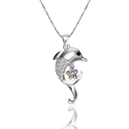 Yoursfs - Ciondolo alla moda, in cristalli austriaci, trasparente, motivo: fiore e delfino, adatto per essere fissato su una collanina, placcato in oro 18 carati - Placcato Ciondolo Delfino