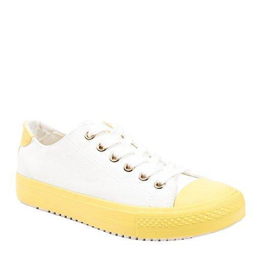 Ideal Shoes - Baskets basses à semelles contrastantes Lorenzia Jaune