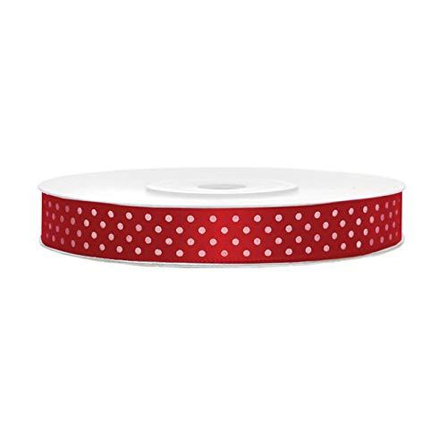 25m Satinband rot mit weißen Punkten Geschenkband Schleifenband 12mm breit Dekoband Satin Band Punkte Dots Tupfen rot weiß Points decoration satin ribbon (Band Rot)