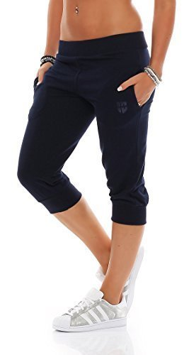 Gennadi Hoppe Damen 3/4 Trainingshose Sporthose kurze Hose Sport Fitness Jogginghose Shorts Barmuda, blau,XL (Hose Fitness Capri)