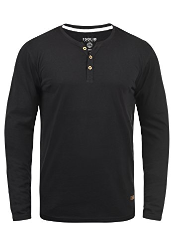 !Solid Volko Herren Longsleeve Langarmshirt Shirt mit Grandad-Ausschnitt, Größe:XL, Farbe:Black (9000)