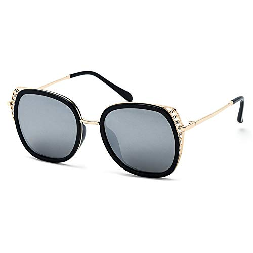 DRHYSFSA Damen Sonnenbrillen Retro Sonnenbrille für Frauen Polarized Mirrored Flat Lens Eyewear UV 400 Schutz UV-Schutzbrillen (Farbe : Silber, Größe : Free)