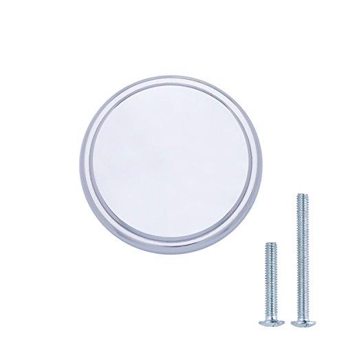 AmazonBasics - Schubladenknopf, Möbelgriff, modern, mit großer runder Platte oben, Durchmesser: 3,85 cm, Poliertes Chrom, 25er-Pack Chrom-platte
