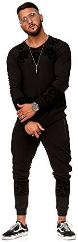 FiveSix Herren Sweat Trainingsanzug Muster Jogging-Anzug Schwarz L