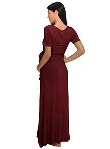 Love2Mi Damen Kurzarm V-Ausschnitt Wrap Maxikleid Lang Umstandskleid mit verstellbarem Gürtel Umstandsmode Kleidung, Weinrot - 4