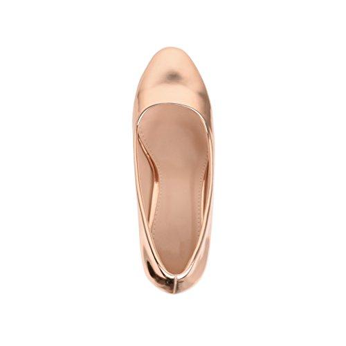 Elara Damen Pumps | Bequeme High Heels Lackoptik Trichterabsatz | Vintage-Style | Chunkyrayan 7056-P-Champagner-38 - 6