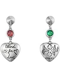 9a6d5f3724 Gucci/Blind for Love/orecchini pendenti con cuore/argento, zirconi rosa e