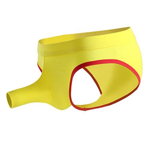 Nase Kostüm Elefanten - Sexy Männer Bikini Ausbuchtung Beutel Kurze elastische modale Unterwäsche Mann niedrige Taille atmungsaktiv männliche Elefanten Nase Unterhose Yellow L