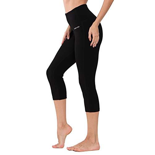 Baumwolle Spandex Leggings (Ogeenier - Yogahose Damen Sport Leggings 3/4 Yoga Capri Leggings Hohe Taille Sporthose Fitnesshose Jogginghose Laufhose Training Sport Tights mit Handytasche (Schwarz))