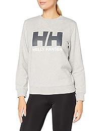 Helly Hansen W Hh Logo Crew Sweat Sudadera Con Gorro, Mujer, Grey Melange, L