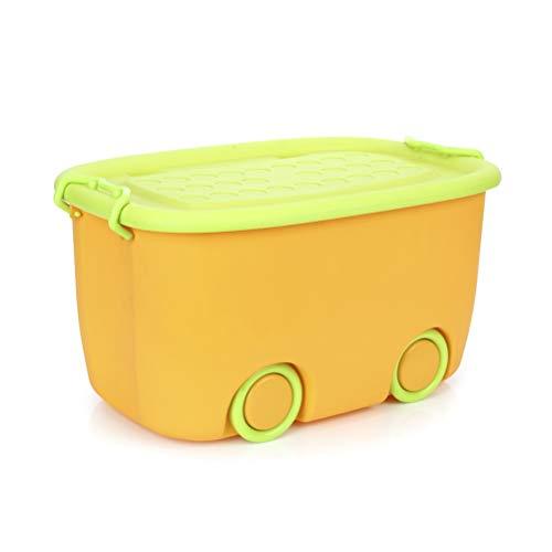 Contenitori impilabili in plastica per bambini, giocattoli, vestiti, libri (arancione)