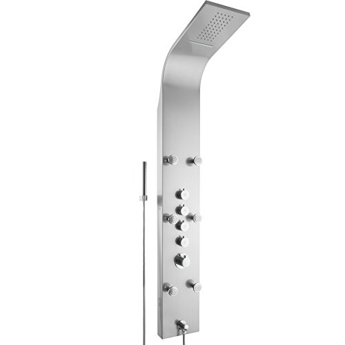 TecTake Panel de ducha con cascada y ducha de lluvia | 6 chorros de masaje con 15 boquillas | Termostato en un intervalo de 30 °C - 50 °C con bloqueo de seguridad a 38 °C