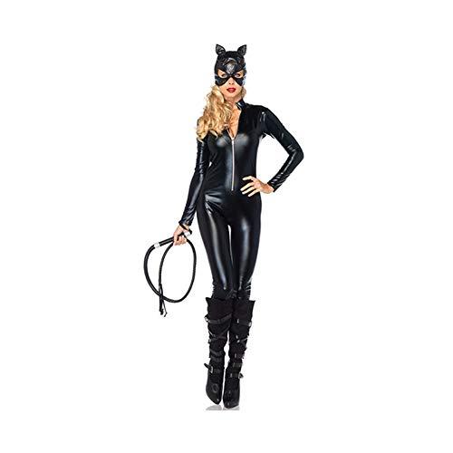 (Kostüm Dark Knight Batman Superhero Womens Kostüm, Lackleder Cat Girl Kleidung Kleidung Rollenspiele Bühne Leistung geeignet für Halloween (Farbe : Schwarz, Größe : XL))