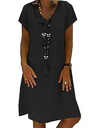 9bb75c8ba3 Mujer Vestido Falda Cuello en V Manga Corta Vestido de Camiseta Fiesta Suelto  Casual Túnica Vestido