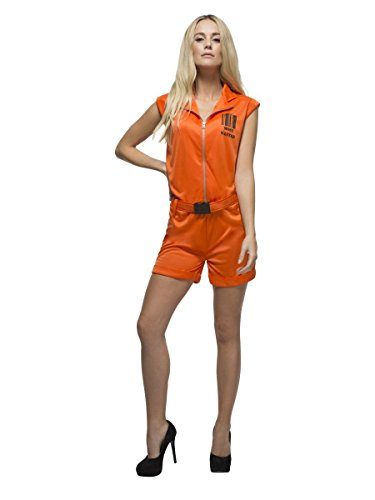 Damen Kostüm sexy Sträfling orange Overall Karneval Fasching Gr.S (Overall Orange Sträfling)