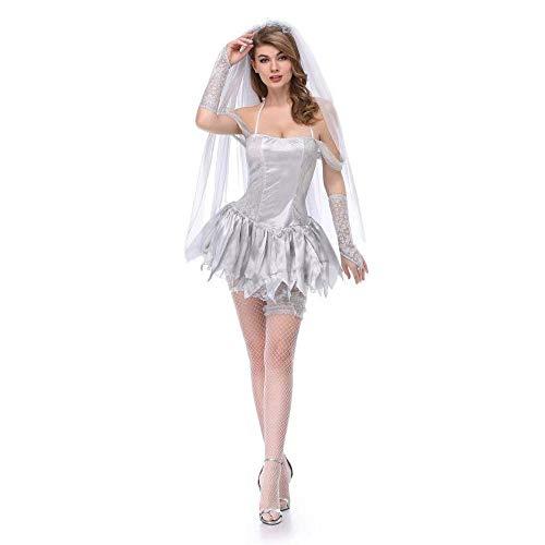 Fashion-Cos1 Halloween Party Frauen Bloody Zombie Hexe Kostüm Sexy Phantasie Ghost Bride Performances Kleid Sexy Halloween Kostüm (Size : - Ghost Bride Kostüm