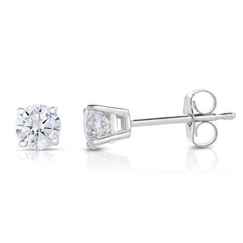 Femme Boucles D'Oreilles Or Blanc 585/1000 Diamant 0.2 Karat