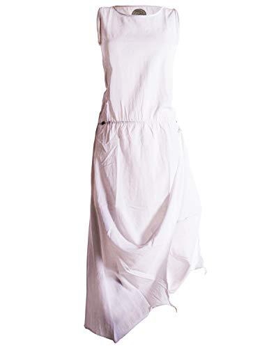 Baumwolle Mini-kleid (Vishes - Alternative Bekleidung - Ärmelloses Lagenlook Kleid aus Baumwolle zum Hochbinden weiß 42 (XL))
