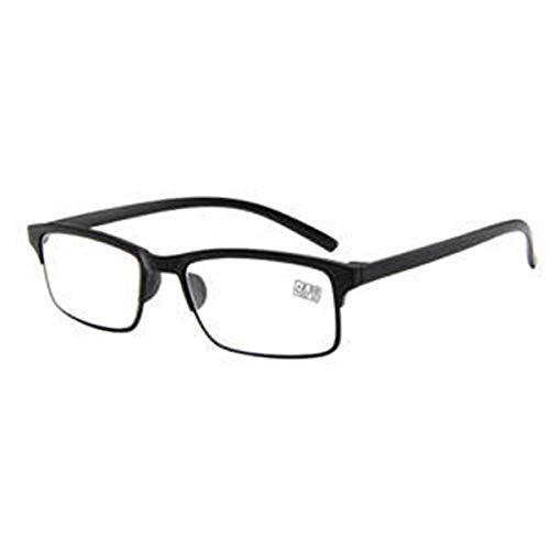 Retro Lesebrille der Männer der Frauen schwarzes Rechteck-Plastikvollrand-klare Linsen-Gläser Bequeme Brille (Size : 3.5)