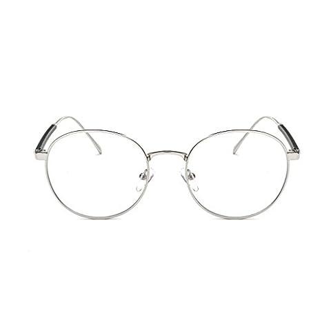 QHGstore Fashion Eyeglass Vintage Frame Transparent Lunettes Retro uni Objectif optique argent / A / 20