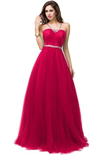 Sunvary Organza senza spalline Tulle Retro aperto-Gowns abiti da sera Fuchsia