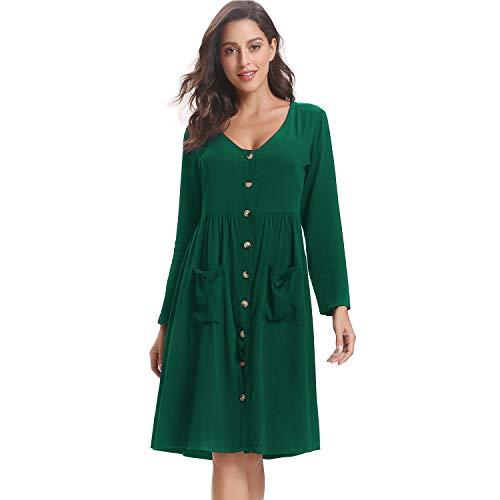 Luxspire Women''s Dresses, Casual Long Sleeve V-Neck High Waist Button Down Midi Dress, Green, 2X-Large - Button-down V-neck T-shirt