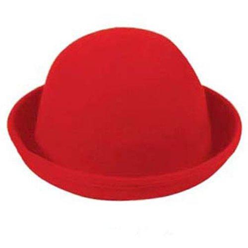 cb959ff6e0be35 WAWO Women Fashion Vogue Vintage Cute Trendy Bowler Wool Derby Hat (Red  Wine)
