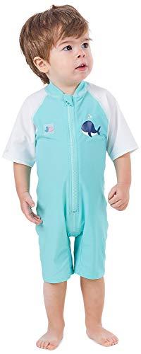 Juicy Bumbles UV Baby Badeanzug - UV Schutz - Einteiliger UV Schutzkleidung Baby - Kurzarm Sonnenanzug UPF50+ Wal - Jungen 6-12 Monate