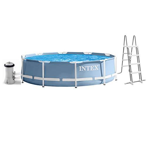 Intex Pool 457 x 84 cm, Komplettset mit Kartuschenfilter, Leiter und Boden