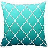 Green and White Quatrefoil Design Pillows Personalized Throw Pillow Case Decor Cushion Covers Stripes 18X18 Inch Square One Side