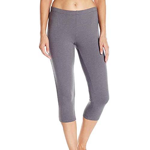XZDCDJ Lange Yogahose Damen High Waist Skinny Hose Frauen High Taille Hip Stretch Laufen Fitness Yoga Hosen Sieben Minuten Hosen(Grau,L) Pro 96-scanner