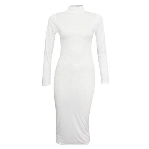 Comfiestyle - Robe - Robe midi - Uni - Col polo - Femme Blanc