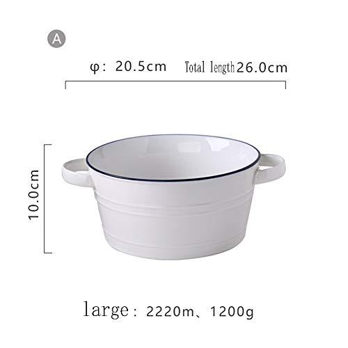 Schüssel nordischen Stil Einfache Keramik binaurale Schüssel Haushalt Keramik Geschirr Mode westlichen Restaurant Tiefe Suppe Becken (Size : L) -